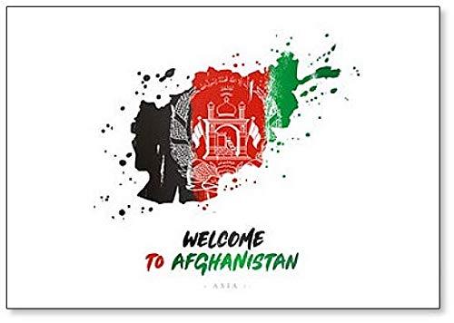 Bienvenido a Afganistán. Imán para nevera, diseño de bandera y mapa del país