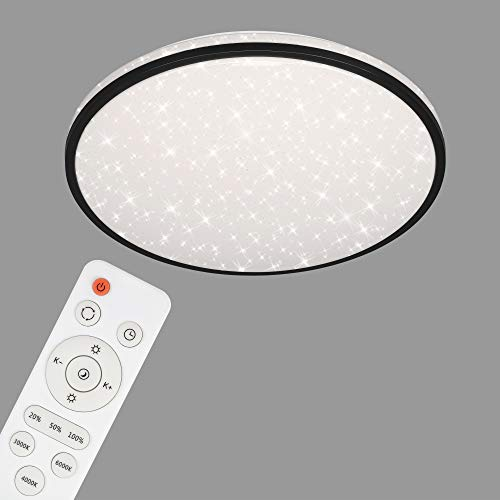 Briloner Leuchten - LED Deckenleuchte, Deckenlampe dimmbar, Sternendekor, Farbtemperatursteuerung, Fernbedienung, Memory-Funktion, Nachtlichtfunktion, 48 Watt, Weiß-Schwarz, Ø 49,2cm, 3447-215