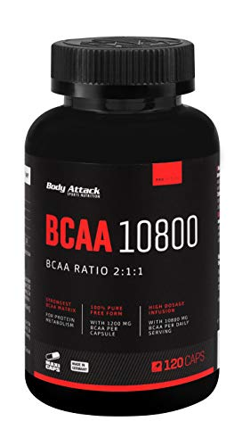 Body Attack - BCAA 10800, 300 Stk. Maxi Caps, 100 Portionen, extrem hochdosierte BCAAs (1200 mg) im Aminosäuren-Verhältnis 2 : 1 : 1 (L-Leucin : L-Valin : L-Isoleucin), Vitamin B6, Made in Germany