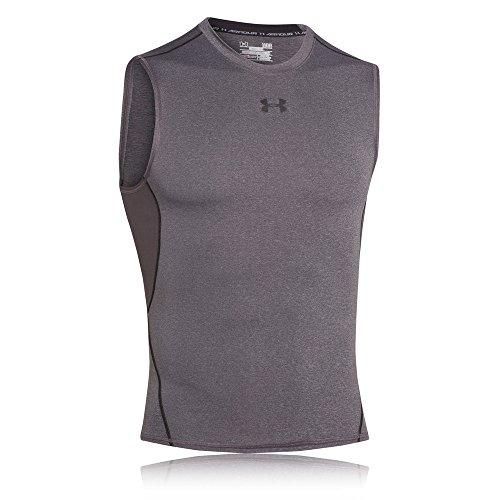 Under Armour Herren Kompressionsshirt UA HeatGear, ärmelloses Funktionsshirt, Grau (Carbon Heather/Black 090), X-Large