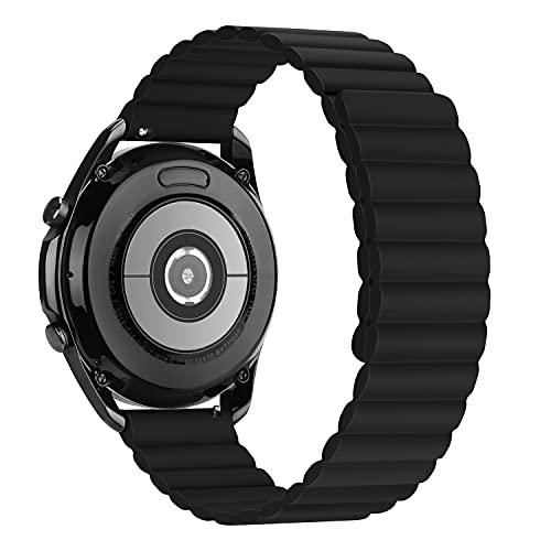 Tasikar 20mm Cinturino Compatibile con Samsung Galaxy Watch 4/4 Classic/Huawei Watch GT2, Cinturin Silicone con Chiusura Magnetica [Indossabile Due Lati] per Galaxy Active 2/Watch 3 (Nero)