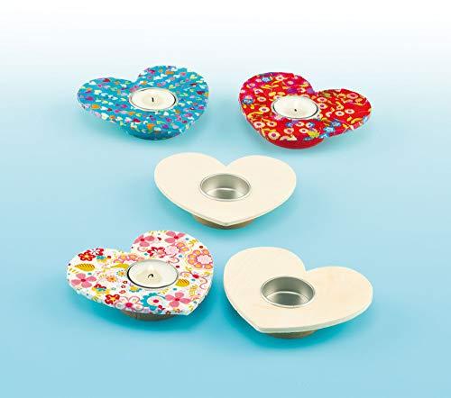 Baker Ross Teelichthalter aus Holzherzen für Kinder zum Dekorieren als Kreativ-Projekte (4er Pack)