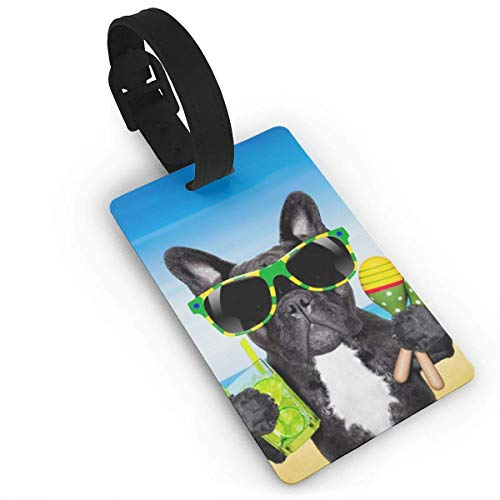 Luggage Tag Travel Travel Bag ID Tags, Beach Funny Brazil French Bulldog Baggage Suitcase Labels Accessories Material PVC Size 2.2' x 3.7'