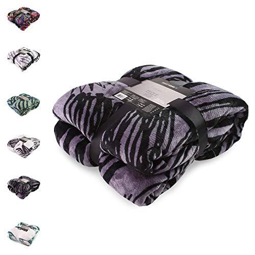 DecoKing Couverture 220x240 cm Couette en Micro-Fibre Plaid Couvre-lit Polaire Doux Douillet Violet Noir Blanc Crème Tropical Jungle Collection
