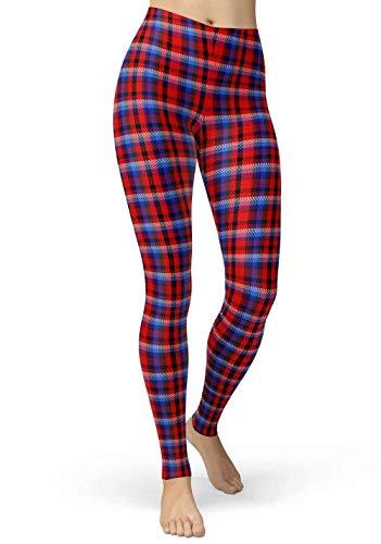sissycos Leggings para mujer a cuadros de tartán para yoga o niña Rayas rojas. Large-XX-Large