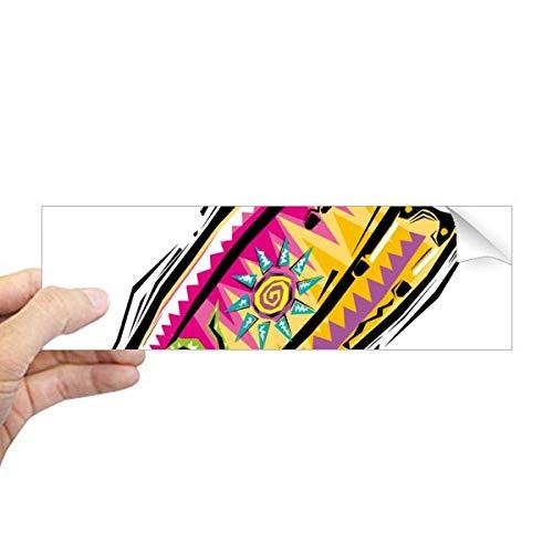 DIYthinker Adesivo retangular de para-choque com elemento de cultura do México colorido para notebook, decalque de janela