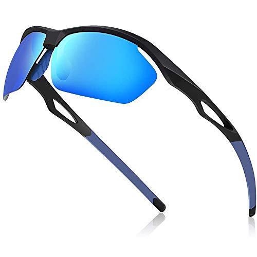 Avoalre Sportsonnebrille Sportbrille Verspiegelte Fahrradbrille Winddicht Sportsonnenbrille Polarisierte Sonnenbrille Herren, Fahrerbrille Skibrille Snowboard Brille Verspiegelt Schneebrille-Blau