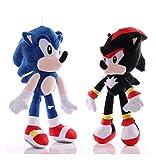 Hzong 2Pcs / Set 27Cm Juguete De Peluche Sónico Amy Rose Sonic-Shadow-Silver The Hedgehog Tails Knuc...