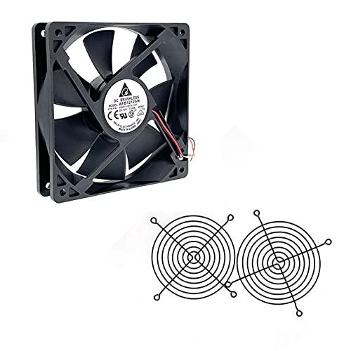 PZZZHF Nuevo para AFB1212SH 12 CM 120MM 12025 DC 12V 0.80A Ventilador de refrigeración 120x120x25mm 2-P rodamiento de Bolas 3400 RPM 11 3CFM, Alta Velocidad CFM (Blade Color : Fan 2pcs Grill)