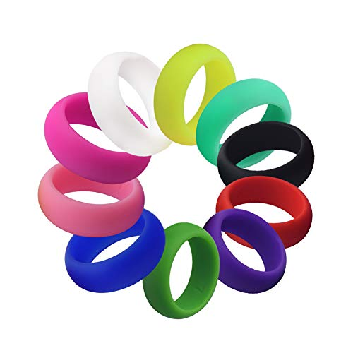 FelixFete Silicone Rings Rainbow Candy Colors 10 Pack Wedding Bands for Men and Women - 8mm Wide