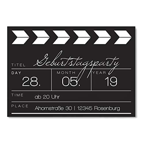 Einladungskarten zum Geburtstag als Filmklappe - Einladung Karte - 10 Stück