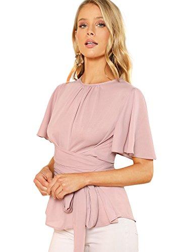 Romwe Women's Self Tie Wist Short Sleeve Casual Chiffon Blouse Tops Pink Medium