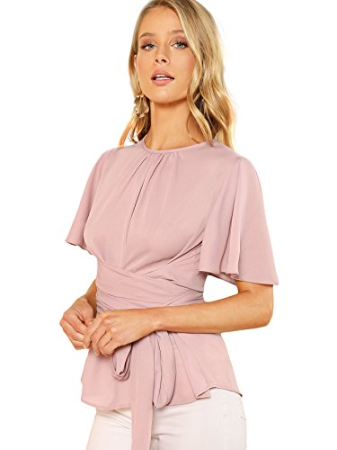Romwe Women's Self Tie Wist Short Sleeve Casual Chiffon Blouse Tops Pink Medium