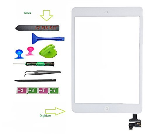 Device Doctor Screen replacement for iPad Mini, Front Touch Digitizer Assembly Replacement include Home Button +Camera Holder + Preinstalled Adhesive + Frame Bezel with Premium Tool Kit (White)