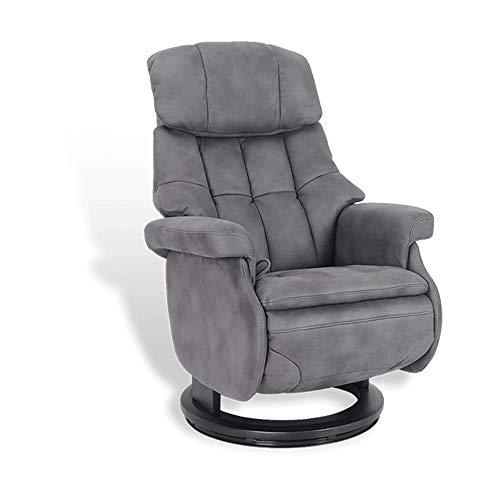 MND MY NEW DESIGN, Fauteuil de Relaxation Design, Cosy, très Confortable avec Pouf intégré (Anthracite, Microfibre)