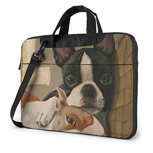 Hdadwy 13 inch Laptop Shoulder Bag Boston Terrier Printed Shockproof Waterproof Laptop Shoulder Backpack Bag Briefcase