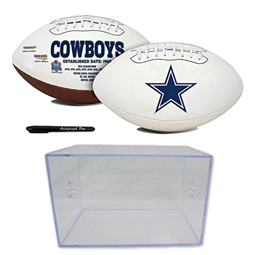 Official National Football League Fan Shop Authentic NFL Signature Series Super Bowl Ball and Display Case. Great Collectible Bundle for the office or Man Cave (Dallas Cowboys)
