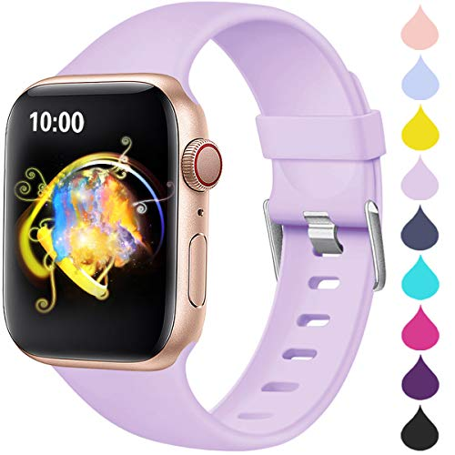 Haveda Compatible for 44mm Apple Watch Band, Apple 6 Watch SE Series 6 5 4, Soft iWatch Bands 44mm Womens for Apple Watch Series 3 42mm Waterproof Durable iWatch Series 2 1, Lavender 42mm/44mm S/M