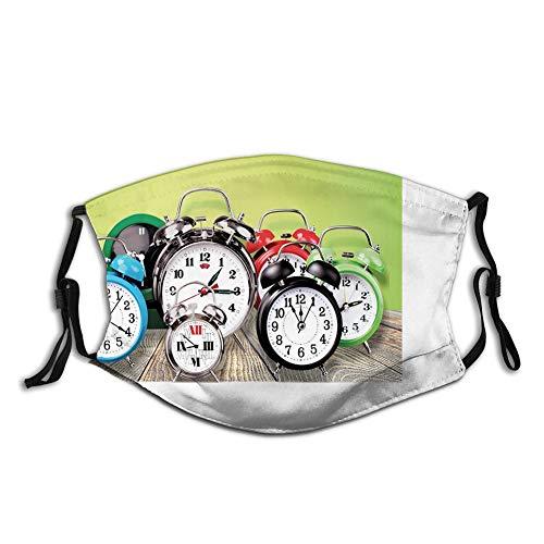 Escudo de boca contra el polvo para mujeres y hombres Ball, un grupo de relojes despertadores en el suelo de madera impresión digital, diseño nostálgico, fundas cómodas
