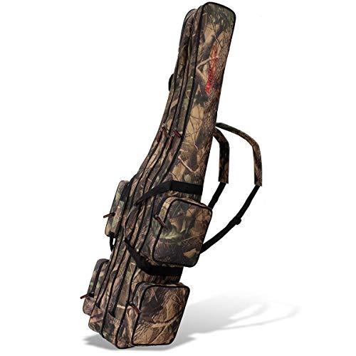 Angel Tasche Futteral Rutentasche Fishing Rucksack - Camouflage 2 Innenfächer - 160 cm
