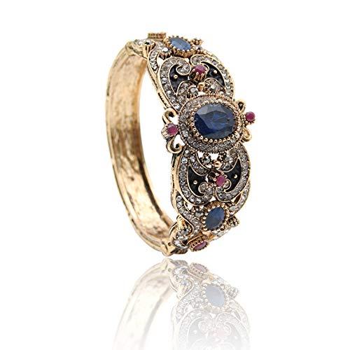 N a Frauen Blume Türkisch Armreif & Armband Retro Gold Farbe Harz Vintage Armreifen Manschette Arabischer Schmuck