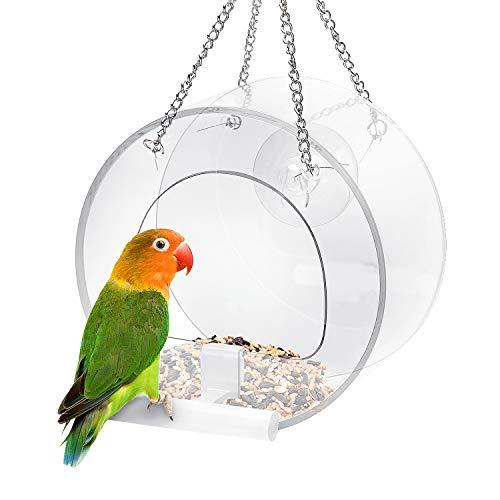 Ertisa Vogelfutterstelle, Fenster-Vogelfutterhaus Transparent aus Acryl mit Saugnapf-Befestigung und hängender Kette, Vogelfutterstation Mit Stander Futterstation Transparent zum Aufhängen