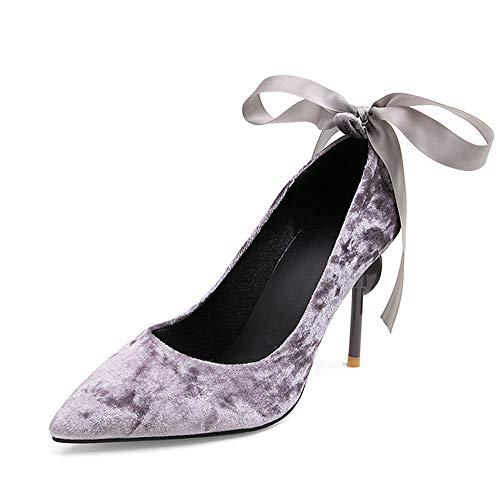 DEAR-JY Zapatos de Tacón para Mujer,9cm Ice Flower Suede Zapatos de Novia,Fiesta...