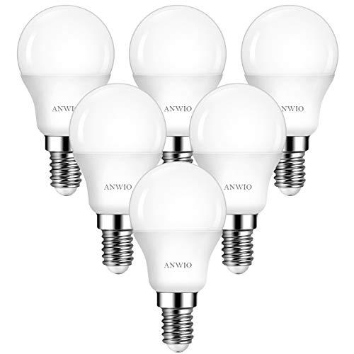 ANWIO Lampadine a LED,Attacco E14,Forma P45,6500K Luce Bianca Fredda,4.5W Equivalente a 40W,470LM,Risparmio Energetico,Lampadine non Dimmerabile,Confezione da 6 Unità