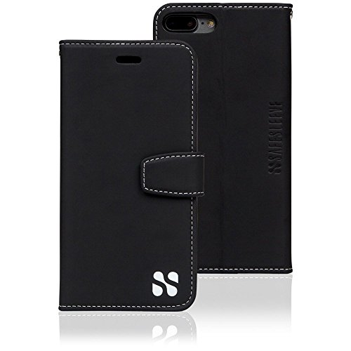 SafeSleeve EMF Protection Anti Radiation iPhone Case: iPhone 8 Plus, iPhone 7 Plus and iPhone 6 Plus RFID EMF Blocking Wallet Cell Phone Case (Black)