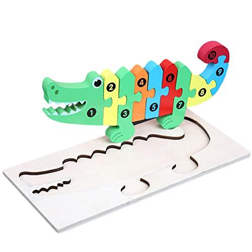 ypypiaol Kinder Auto Giraffe 3D Holzgebäude Puzzle Frühes Pädagogisches Puzzle Spielzeug Geschenk Croco
