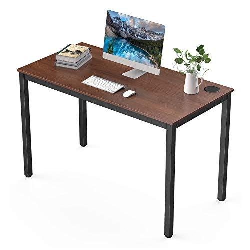 UMI.by Amazon Schreibtisch Computertisch Moderner PC Tisch einfacher Aufbau Bürotisch mit kabelmanagement 120 * 60 * 75CM Eiche Schwarz