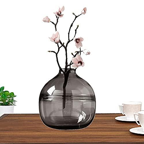 LXLAMP Jarrones Cristal Grandes, jarrones Decorativos de Suelo Altos Jarrones de Flores, Elegante Decoración para la Decoración del Escritorio - Altura 20 cm (Color : Gray)