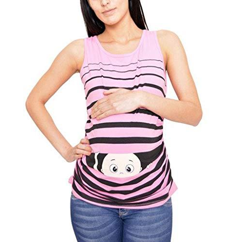 Schwangerschaft Sommer Umstandsmode Bluse Tops,Sommer Frauen Drucken Baby Mutterschaft Rundhals ärmellose Top Weste Große Größen Kurzarm Rundhalsausschnitt Schwangerschaft T-Shirt