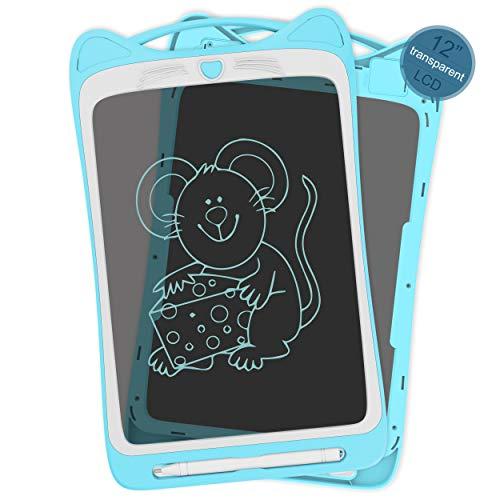 Richgv LCD Writing Tablet,12 Pollici Colorato Elettronico Tablet Tavoletta Grafica Digitale Scrittura, Ewriter Paperless Disegno Pad Bambini della Casa Scuola Blu…