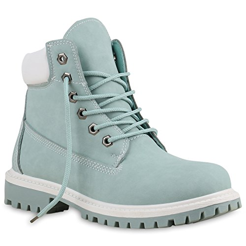 Stiefelparadies Unisex Damen Herren Boots Bequeme Worker Boots Profilsohle Outdoor Schuhe 137317...