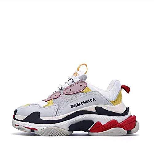 GERPY Cuero Genuino con Fondo Plano Blanco Zapatos de Mujer Estilo de Moda Femenina Colores Mezclados Zapatos Casuales Zapatillas de Plataforma Wome