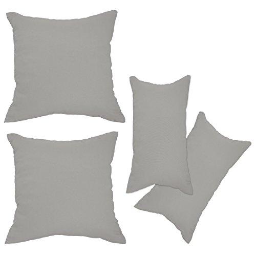 Nurtextil24 Kissenbezüge 2er Set Leinen-Optik 25 Farben und 20 Größen Blickdicht mit Reißverschluss Grau 50 x 70 cm