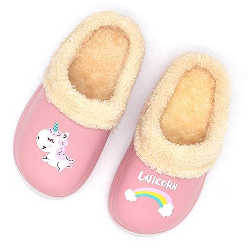 Zapatillas de Estar por Casa para Niños Niñas Invierno Zapatillas,Unisex-Niños Invierno Pelusa Forro Pantuflas Interior Casa Caliente Antideslizante Zapatillas