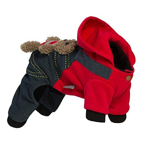 KSITH Hond Kleding Beer Patroon Hooded Jas Vierbenige Kleding Teddy Herfst En Winter Puppy Huisdier Kleding, S
