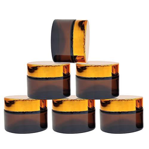YLX Cremedose Leer, 30ml Amber Glas Flasche Leere Nachfüllbare Behälter Braunen Glasbehälter mit Deckel für Kosmetik Cremes Lotionen ätherische Öle (6 Stück)