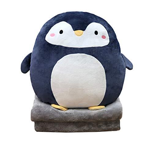 DXDE4U Cuscino da abbracciare con Pinguino, 40 cm, Cuscino Anime Peluche con Coperta in Pile Corallo, Regalo per Ragazze Ragazzi, per Compleanno, San Valentino, Natale, Viaggi, Vacanze