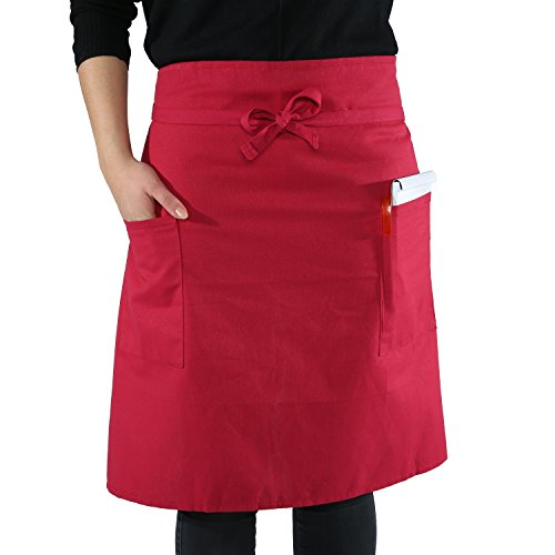 sinnlein® Vorbinder Kochschürze Küchenschürze 100% Baumwolle | mit 2 Taschen | 6 Farben wählbar - perfekt auch als Grillschürze und Backschürze (Bordeaux)