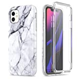 SURITCH Marble iPhone 11 Case, [Built-in Screen Protector] Full-Body Protection Hard PC Bumper Glossy Soft TPU Rubber Gel Shockproof Cover for iPhone 11/XI 6.1 inch 2019 (Black Marble)