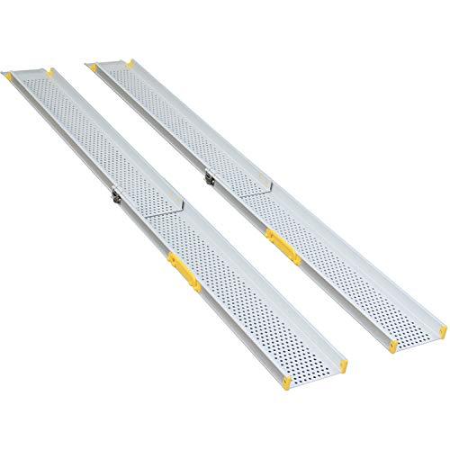 Aluminium Premium Teleskoprampe Teleskopschiene Rollstuhlrampe Auffahrschiene Schwellenrampe - bis 213,3 cm (MR10719-7)