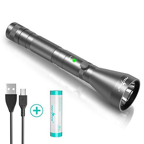 LED Taschenlampe 1200 Lumen USB Wiederaufladbare Taktische Licht (Einschließlich 18650 Batterie) Wasserdichte Tragbare Taschenlampen 4 Modi, Camping Freien Wandern