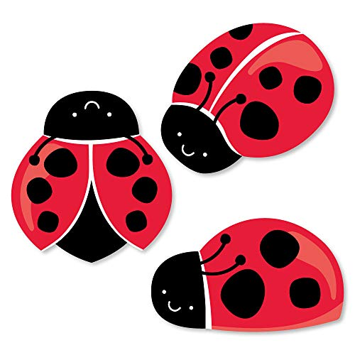 Big Dot of Happiness Happy Little Ladybug - DIY Shaped Baby Shower or Birthday Party Cut-Outs - 24 Count