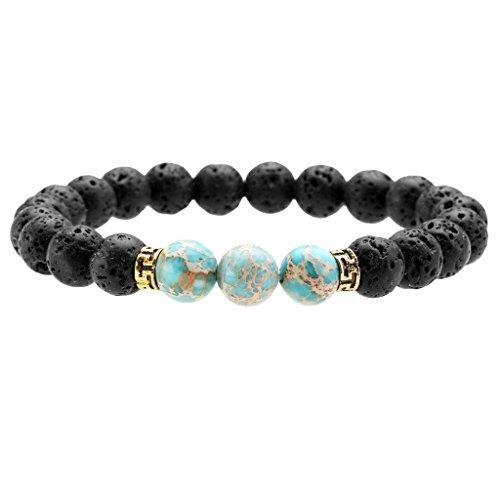 Jovivi Lava Stone Aromatherapy Essential Oil Diffuser Bracelet with 3pc Dyed Imperial Jasper Stone Chakra Healing Bangle