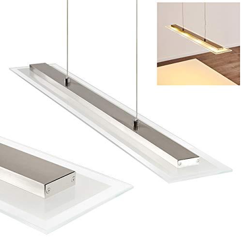 LED Pendelleuchte Faenza, dimmbare Hängelampe aus Metall u. Glas in Nickel-matt, Höhe max. 147 cm (verstellbar), Hängeleuchte m. 4 x 4 Watt, 1280 Lumen, Lichtfarbe 3000 Kelvin (warmweiß)