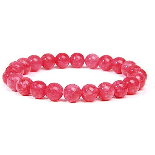 Pulsera rosa Pulseras de piedra natural Cuarzo de mujer Agat Angelite Pulsera de ojo de gato Pulsera...