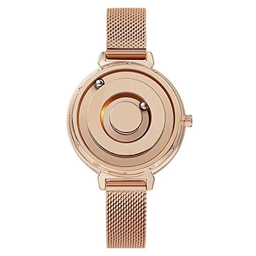 EUTOUR Reloj Analógico para Mujer Reloj Magnético de Cuarzo Suizo Relojes de Pulsera Minimalistas Originales Brillantes con Correa de Malla de Acero Inoxidable en Oro Rosa